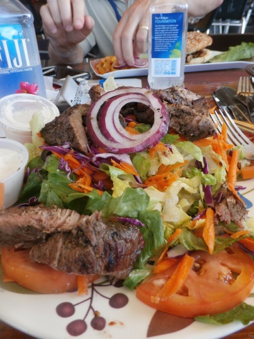 Steak Salad at Sunset Beach Bar. Mmmm, Good. Kathryn B. Creedy